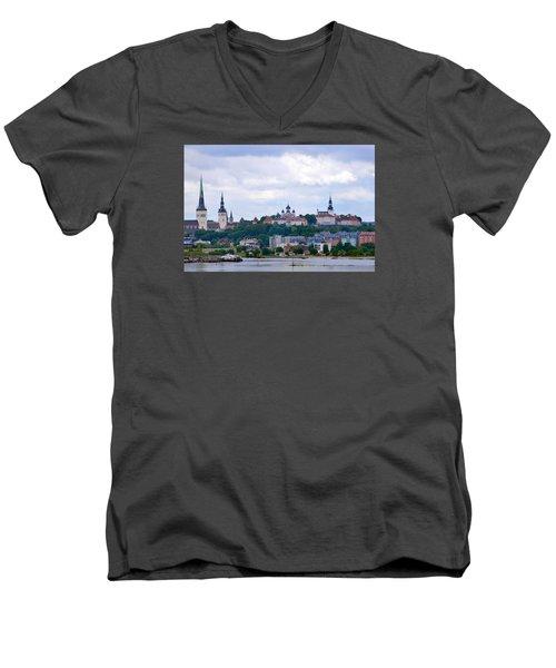 Tallinn Estonia. Men's V-Neck T-Shirt by Terence Davis