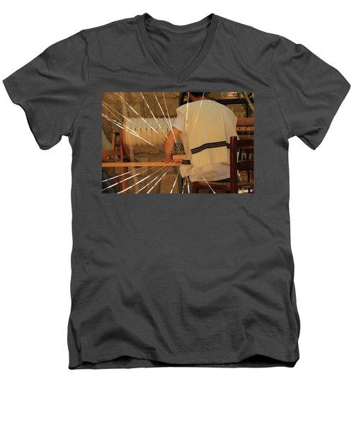 Jewish Prayer Shawl Weaving In Tzfat Men's V-Neck T-Shirt by Yoel Koskas
