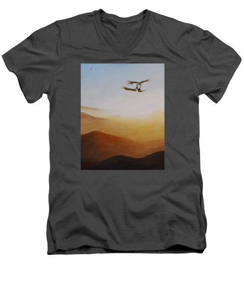 Men's V-Neck T-Shirt featuring the painting Talon Lock by Dan Wagner