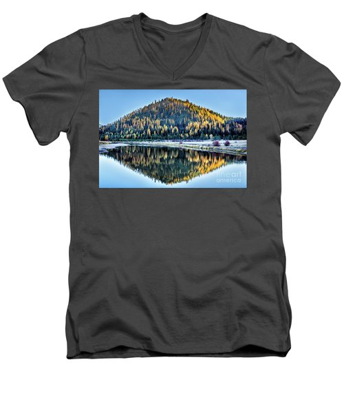 Tamarack Glow Idaho Landscape Art By Kaylyn Franks Men's V-Neck T-Shirt
