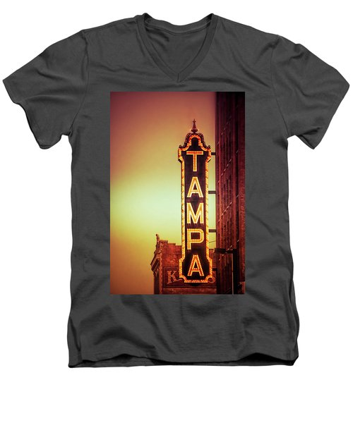 Men's V-Neck T-Shirt featuring the photograph Tampa Theatre by Carolyn Marshall