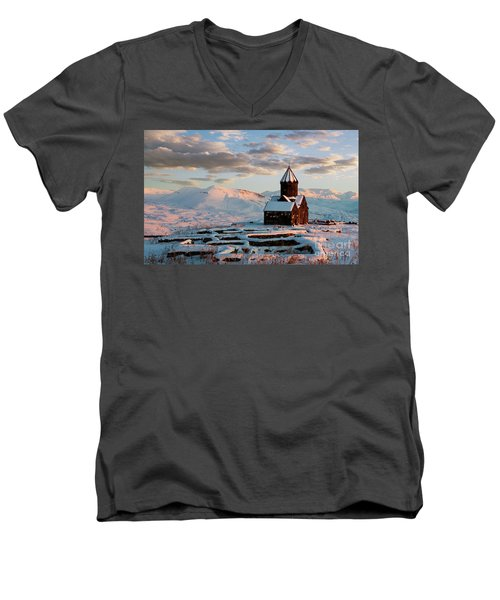 Tanahat Monastery At Sunset In Winter, Armenia Men's V-Neck T-Shirt