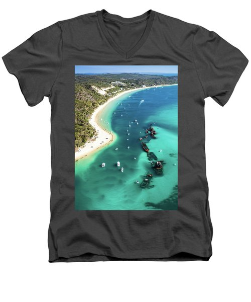 Tangalooma Wrecks Men's V-Neck T-Shirt by Peta Thames