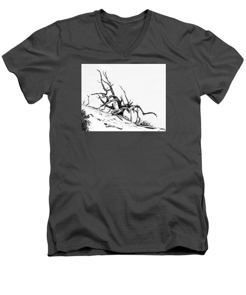 Men's V-Neck T-Shirt featuring the photograph Tangled by Alan Raasch