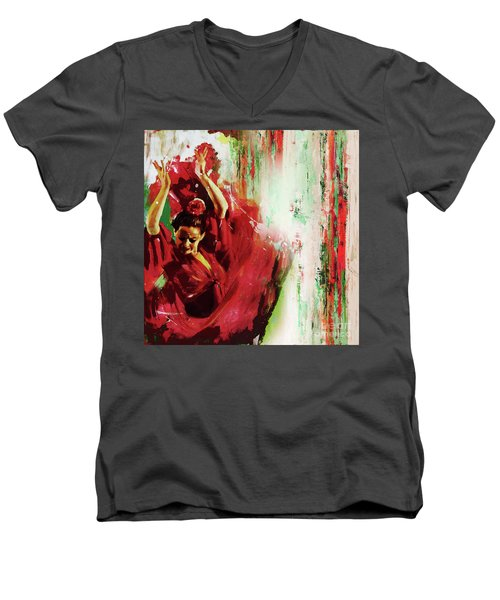 Men's V-Neck T-Shirt featuring the painting Tango Dance 45g by Gull G