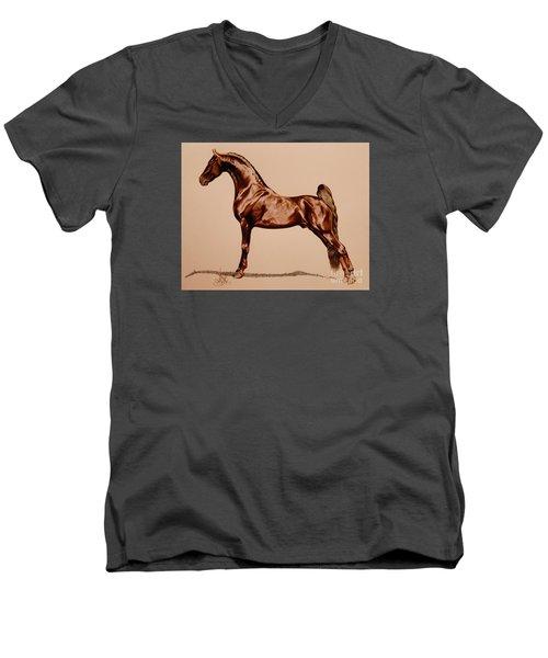 Tangos Daylight - Saddlebred Stallion Men's V-Neck T-Shirt by Cheryl Poland