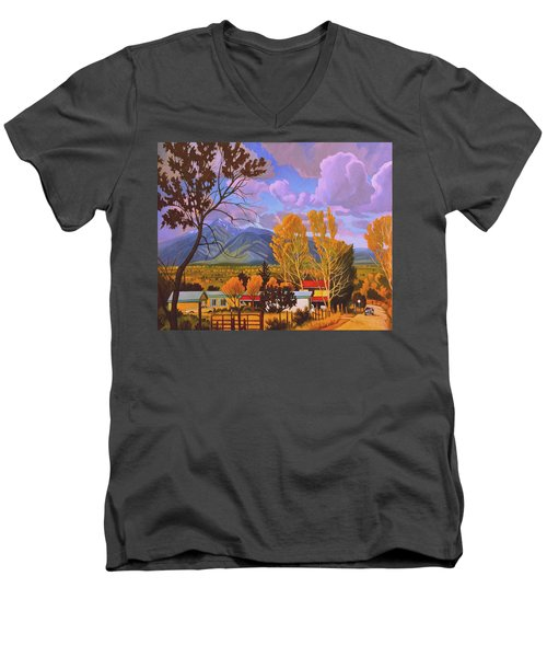 Taos Red Roofs Men's V-Neck T-Shirt