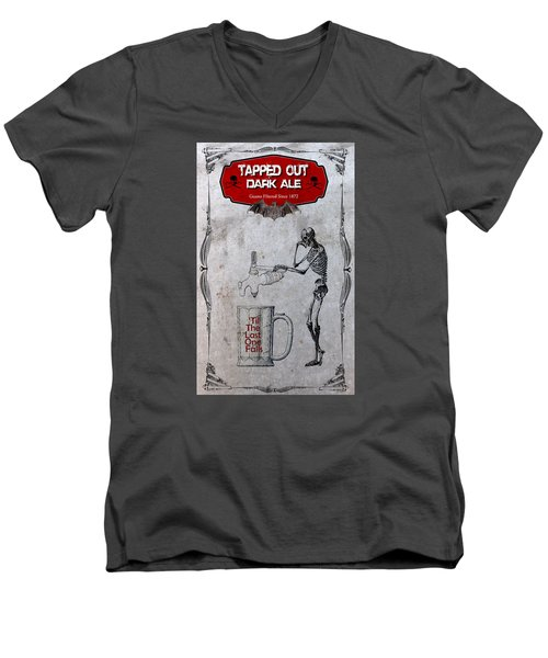 Men's V-Neck T-Shirt featuring the digital art Tapped Out Ale by Greg Sharpe