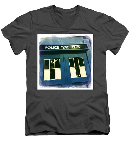 Tardis Dr Who Men's V-Neck T-Shirt