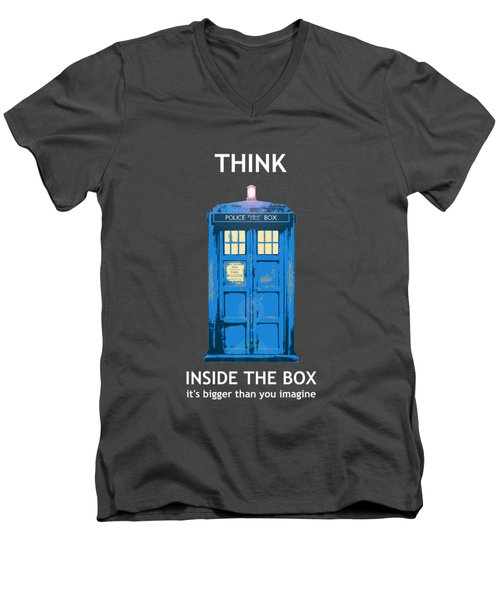 Tardis - Think Inside The Box Men's V-Neck T-Shirt by Richard Reeve