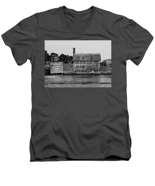 Tarr And Wonson Paint Manufactory In Black And White Men's V-Neck T-Shirt by Brian MacLean