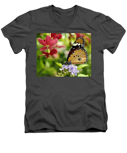 Men's V-Neck T-Shirt featuring the photograph Tasting Colors by Bliss Of Art