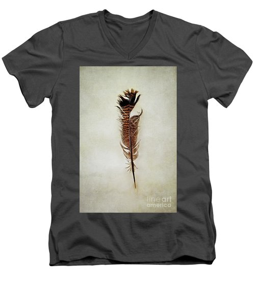 Men's V-Neck T-Shirt featuring the photograph Tattered Turkey Feather by Stephanie Frey