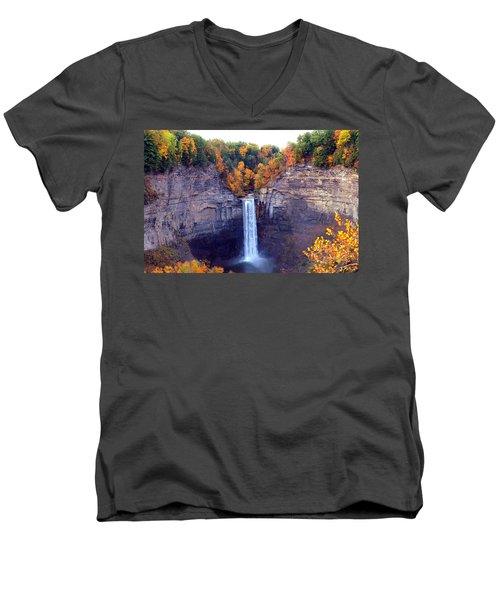Taughannock Waterfalls In Autumn Men's V-Neck T-Shirt