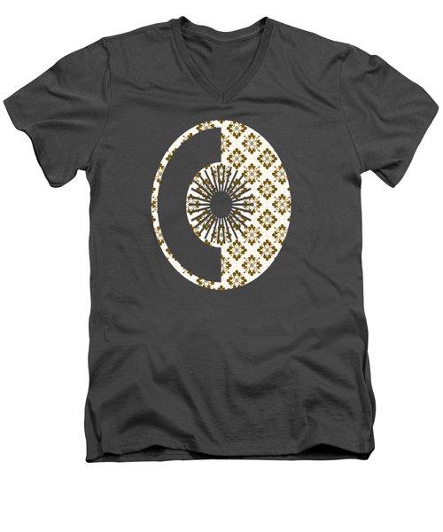 Taupe Floral Pattern Men's V-Neck T-Shirt
