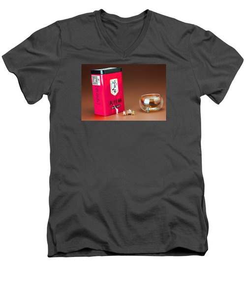 Men's V-Neck T-Shirt featuring the photograph Tea Drinking In A Family Little People Big World by Paul Ge