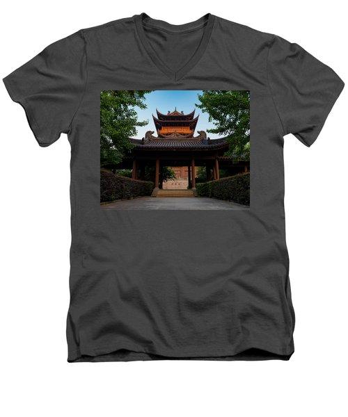 Tea House In The Morning I Men's V-Neck T-Shirt