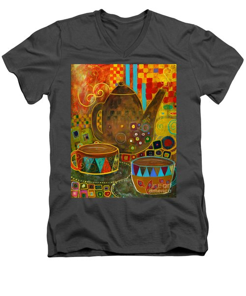 Tea Party With Klimt Men's V-Neck T-Shirt by Robin Maria Pedrero