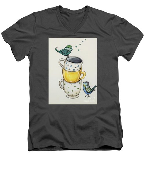 Tea Time Friends Men's V-Neck T-Shirt by Elizabeth Robinette Tyndall