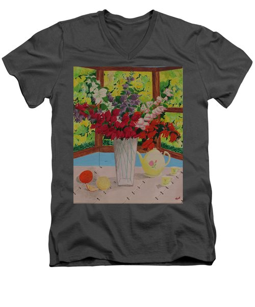 Tea Time Men's V-Neck T-Shirt by Hilda and Jose Garrancho