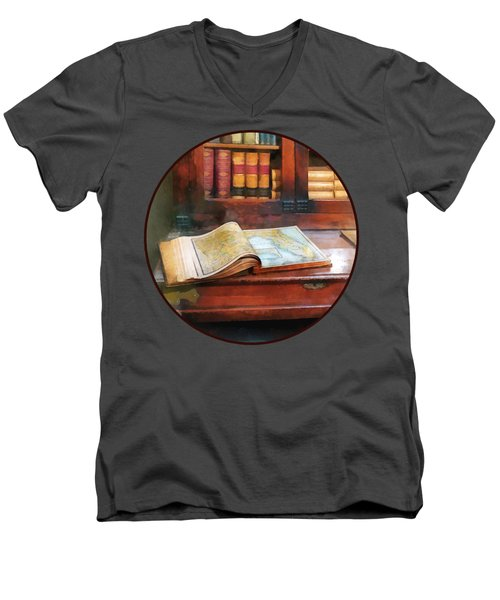 Teacher - Geography Book Men's V-Neck T-Shirt