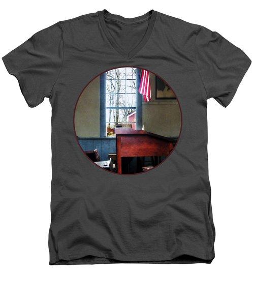 Teacher - Schoolmaster's Desk Men's V-Neck T-Shirt by Susan Savad