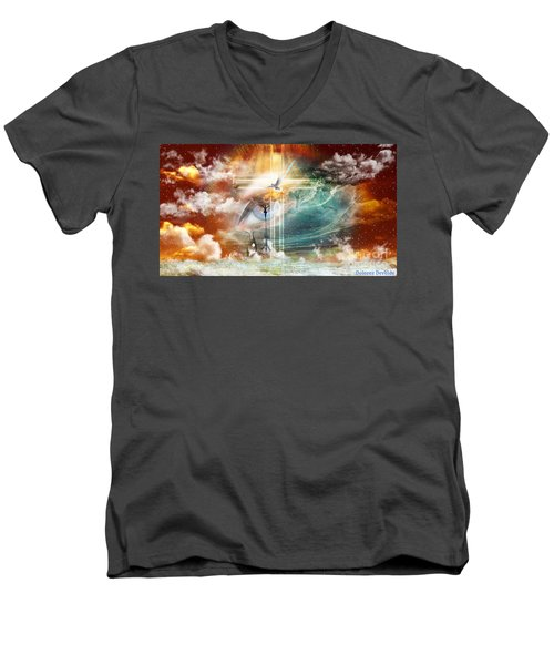 Men's V-Neck T-Shirt featuring the digital art Tears To Triumph by Dolores Develde