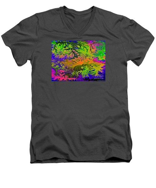 Technicolor Leaves Men's V-Neck T-Shirt by Patricia Griffin Brett