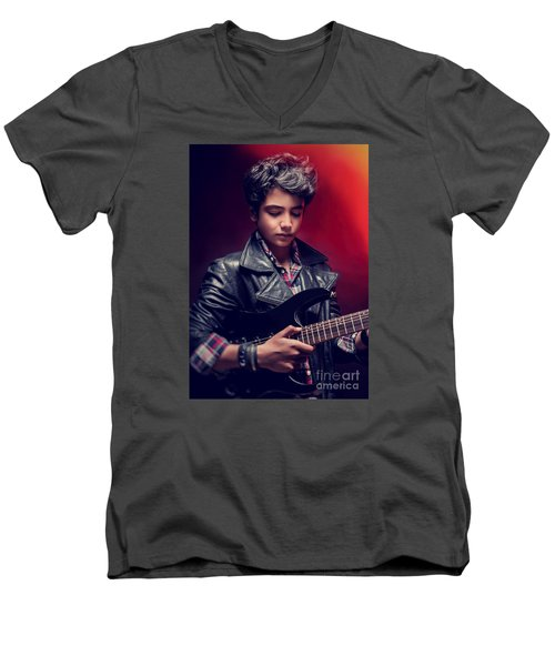 Teen Guy Playing On Guitar Men's V-Neck T-Shirt