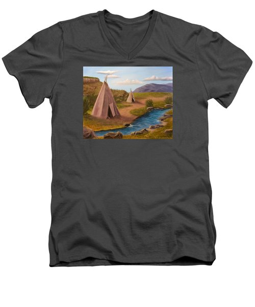 Men's V-Neck T-Shirt featuring the painting Teepees On The Plains by Sheri Keith