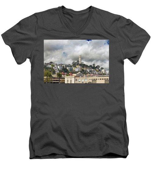 Telegraph Hill Neighborhood Homes In San Francisco Men's V-Neck T-Shirt