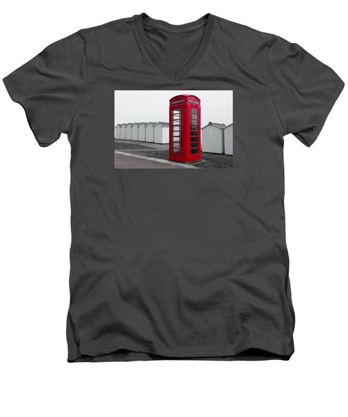 Telephone Box By The Sea I Men's V-Neck T-Shirt