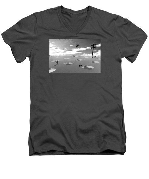 Men's V-Neck T-Shirt featuring the photograph Telephone Line by Christopher Woods