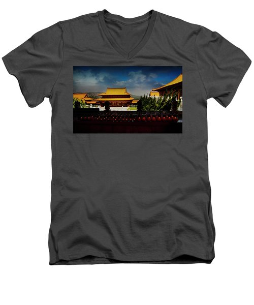 Men's V-Neck T-Shirt featuring the photograph Temple Candles by Joseph Hollingsworth