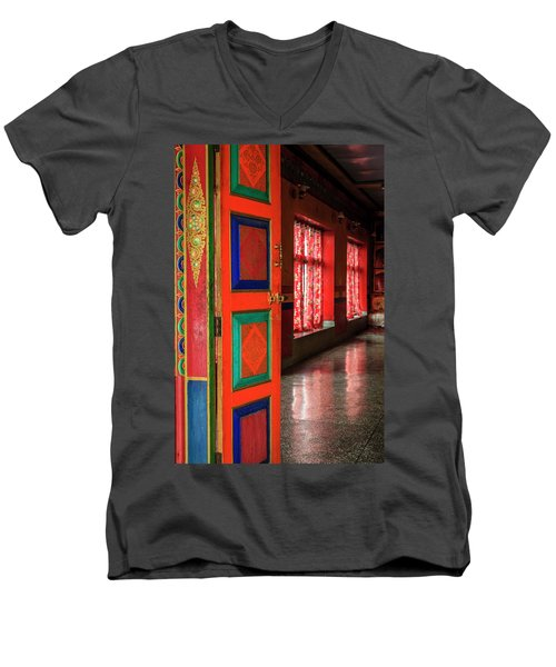 Men's V-Neck T-Shirt featuring the photograph Temple Door by Alexey Stiop