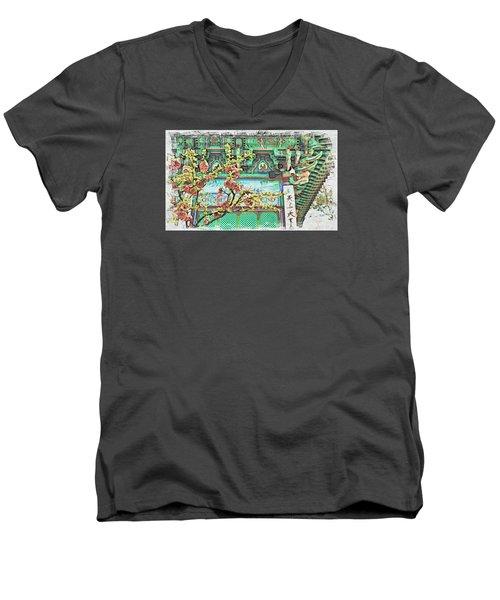 Temple Flowers Men's V-Neck T-Shirt