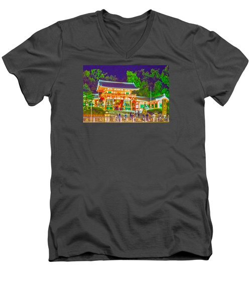 Men's V-Neck T-Shirt featuring the painting Temple In Kyoto by Pravine Chester