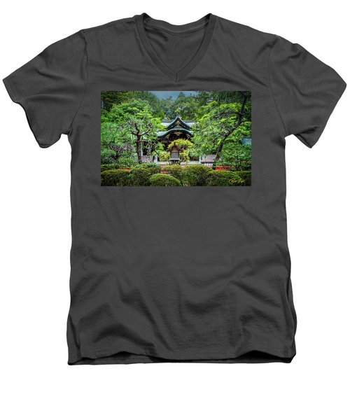 Men's V-Neck T-Shirt featuring the photograph Temple In The Rain by Rikk Flohr