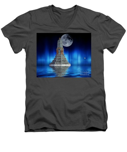 Men's V-Neck T-Shirt featuring the photograph Temple Of The Moon by Shirley Mangini