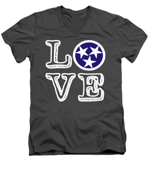 Tennessee Flag Love Men's V-Neck T-Shirt by Heather Applegate