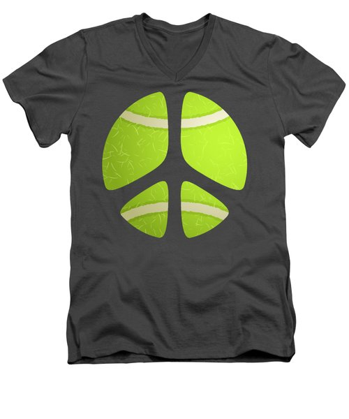 Tennis Ball Peace Sign Men's V-Neck T-Shirt by David G Paul