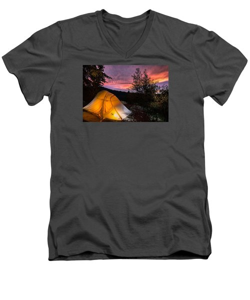 Tent At Sunset Men's V-Neck T-Shirt