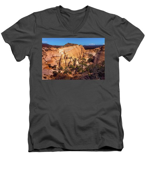 Tent Rocks From Above Men's V-Neck T-Shirt