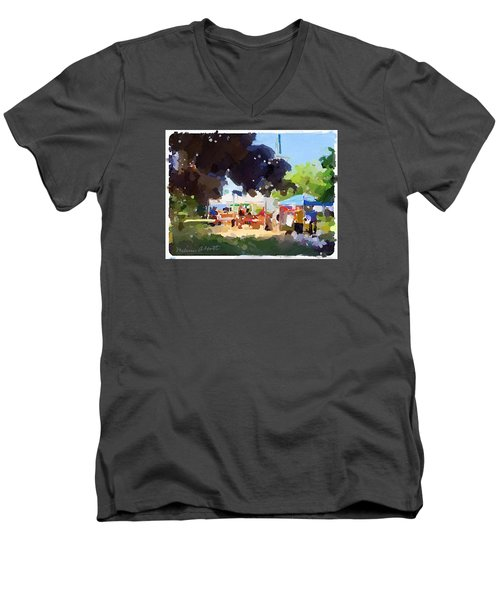 Tents And Church Steeple At Rockport Farmers Market Men's V-Neck T-Shirt
