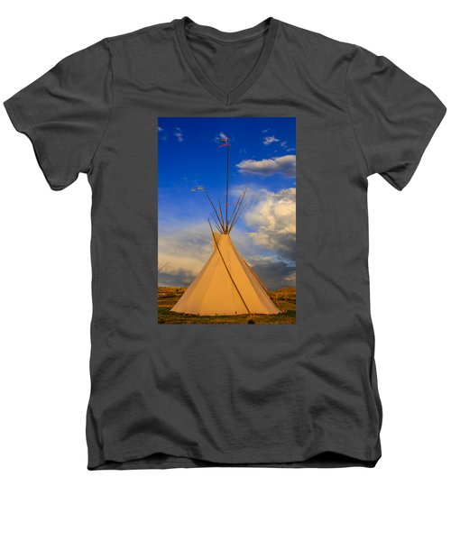 Tepee At Sunset In Montana Men's V-Neck T-Shirt by Chris Smith