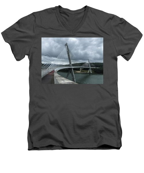 Terenez Bridge I Men's V-Neck T-Shirt by Helen Northcott