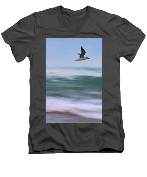 Men's V-Neck T-Shirt featuring the photograph Tern Flight Vert by Laura Fasulo