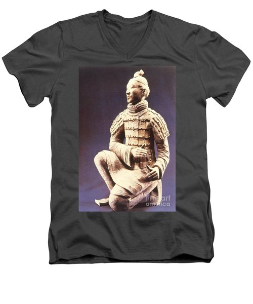 Men's V-Neck T-Shirt featuring the photograph Terracotta Soldier by Heiko Koehrer-Wagner