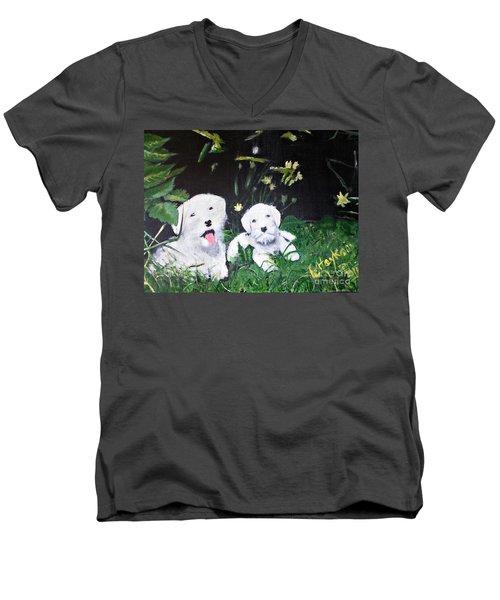 Terriers' Farm Pals. Men's V-Neck T-Shirt by Francine Heykoop