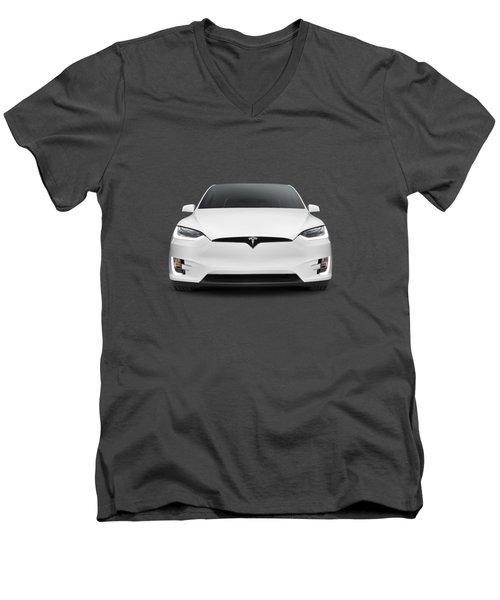 Tesla Model X Luxury Suv Electric Car Front Art Photo Print Men's V-Neck T-Shirt